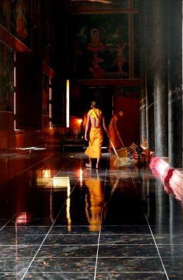Cambodia - Steven Lerner - monk floor shine